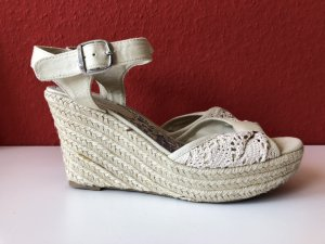 Wedge Sandals multicolored textile fiber
