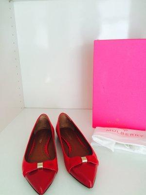 Wunderschöne, spitze Ballerinas von Mulberry, rot, Gr. 40, echtes Leder, NEU