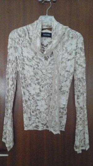 wunderschöne Spitzen-Bluse in ecru von Nicowa