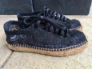 Espadrille sandalen zwart-lichtbruin