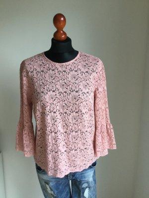 Zara Blouse en dentelle rose tissu mixte