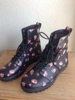 Wunderschöne Stiefel mit blümchenmuster zum schnüren