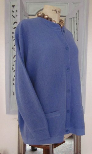 Veste en tricot bleu azur-bleuet laine alpaga