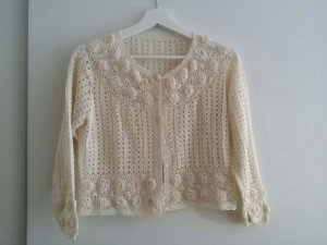 Cardigan all'uncinetto crema Cotone