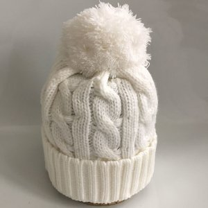 Bobble Hat white polyacrylic