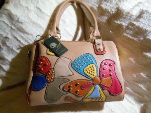 Wunderschöne stylische Henkeltasche * Bowlingbag * Tolle Farben * Beige mit bunter Blütenapplikation