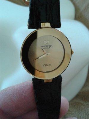 Montre avec bracelet en cuir doré-noir