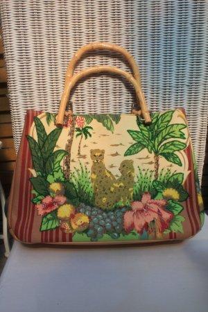 wunderschöne Tasche * Dschungel * Geparden * Perlenstickerei * einmal benutzt *