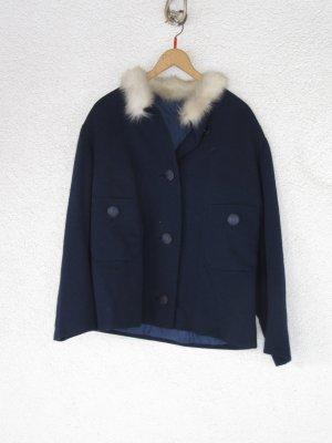 Wunderschöne true Vintage dunkelblaue Jacke mit (Kunst?) Fellkragen + passenden Rock