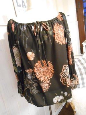 wunderschöne Tunika Bluse Schwarz mit tollem Blumendruck New Look 2017 NEU