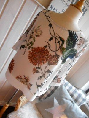 wunderschöne Tunika Blusenshirt weiß mit tollem Blumendruck NEU