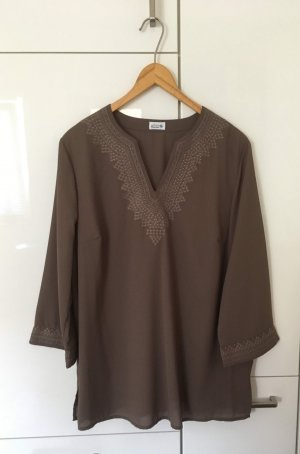 Atelier Creation Tunic Blouse light brown-grey brown polyester