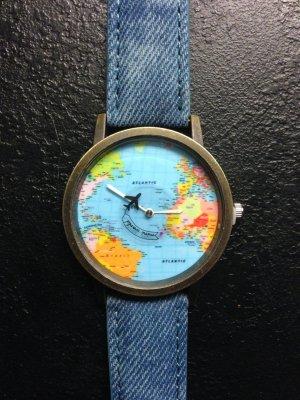 Wunderschöne Uhr ungetragen blau mit Weltkarte und Flugzeug *mini world*