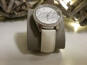 Guess Watch With Leather Strap silver-colored-white stainless steel