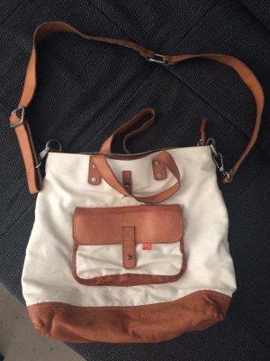 Adenauer & Co Crossbody bag natural white-cognac-coloured