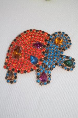 wunderschöne und ausgefallene Brosche * Schildkröte * Kristalle * nie getragen *