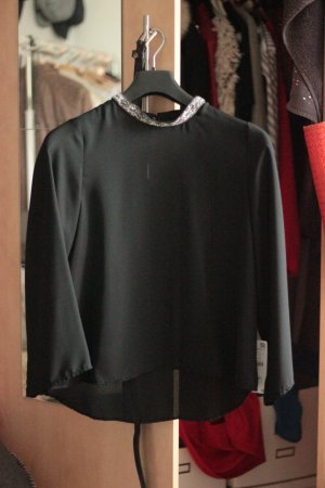 Zara Basic Blouse brillante noir