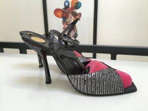 Versace Sandaletto con tacco alto nero-argento