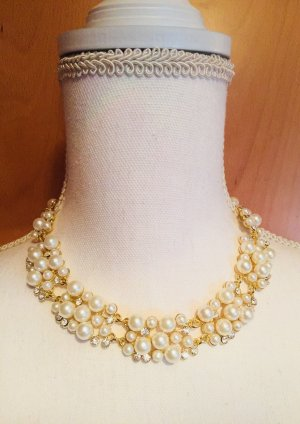 Collier de perles doré-blanc