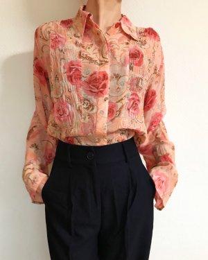 Wunderschöne Vintagebluse mit Rosenmotiv