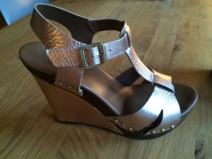 Wedge Sandals brown-gold-colored