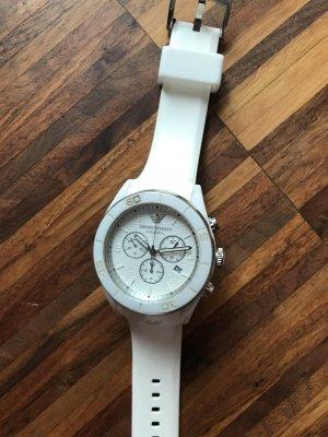 Wunderschöne weiße Chronograph Armbanduhr von Emporio Armani