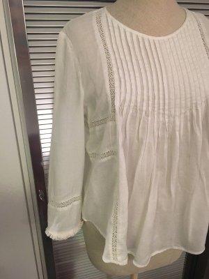 Wunderschöne weiße NEUE bestickte Boho Bluse von ZARA in Gr S