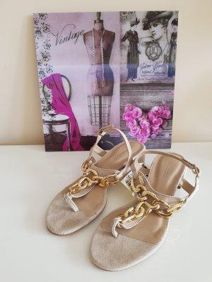 Hallhuber High-Heeled Toe-Post Sandals cream-oatmeal