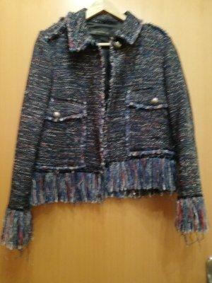 Zara Blazer en laine bleu foncé-doré