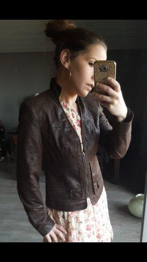 Wunderschöne Zara Basic Lederjacke Stehkragen Gr S Leder Bikerjacke Blouson Blogger  Jacke Bloggerjacke