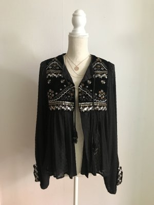 Wunderschöne Zara Jacke Cardigan Top Shirt mit Verzierung Perlen S