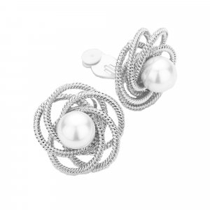 Pendientes de clip blanco-color plata vidrio