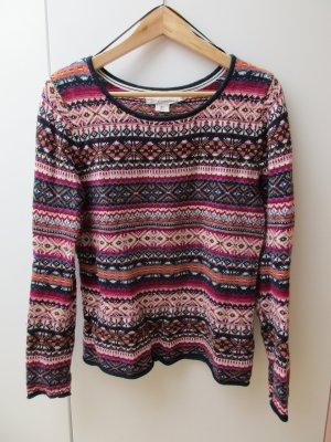 wunderschöner Alpaka Jacquard Pullover in magenta Winter Größe S