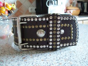Studded Belt black brown leather