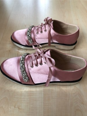 Lost Ink Lace Shoes silver-colored-light pink