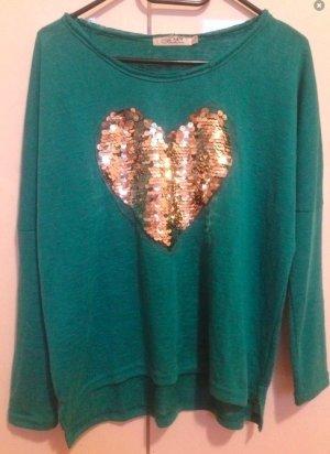 Wunderschöner Grün Türkiser Pullover mit Goldenem Glitzer Herz von Topshop