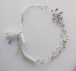 Haarband zilver-wit