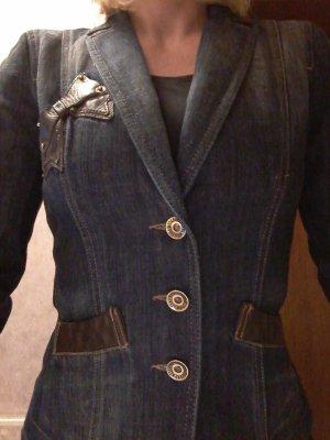Moschino Denim Blazer dark blue-bronze-colored cotton