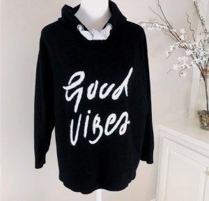 Zara Jersey con capucha blanco-negro