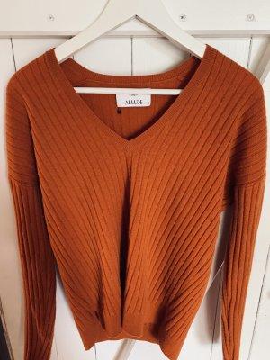 Allude Pullover in cashmere arancio neon