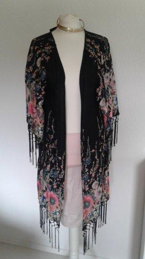 Wunderschöner Kimono mit Fransen und Blumenmuster