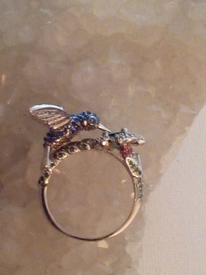 Wunderschöner Kolibri Damen Ring 925