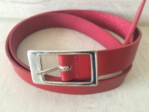 Esprit Leather Belt red-silver-colored leather