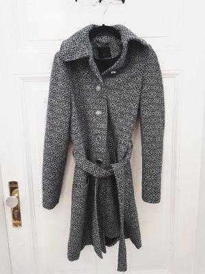 Wunderschöner Mantel grau Vintage Wolle Muster XS