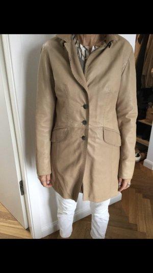 mabrun Manteau en cuir beige