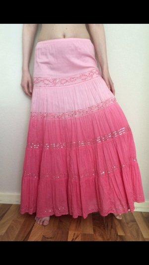 Wunderschöner Maxirock Pailletten Pink Silber Batik