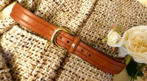 Aigner Leather Belt light brown-gold-colored leather