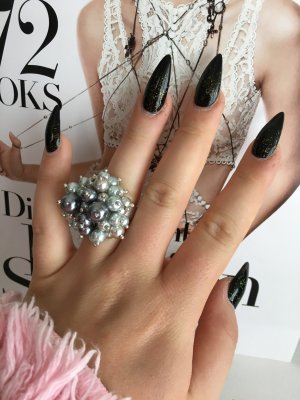 Wunderschöner Perlenring & Ohrringe Silber