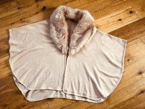 Wunderschöner Poncho mit Fake Fur Fellkragen, Unisize, NEU