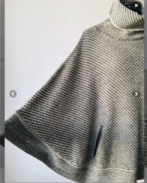 Massimo Dutti Poncho de punto gris claro